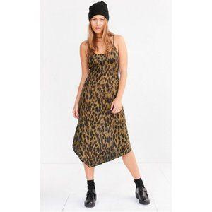 Silence + Noise Axel Leopard Midi Slip Dress S NWT